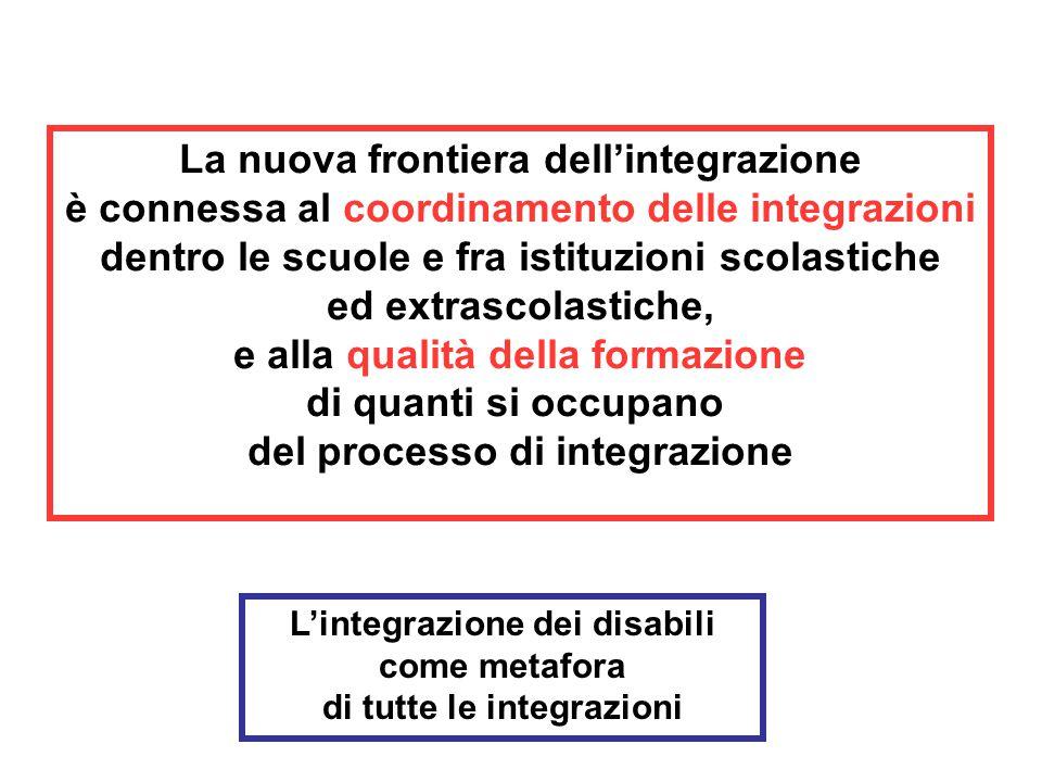 La nuova frontiera dell'integrazione è connessa al coordinamento delle integrazioni dentro le scuole e fra istituzioni scolastiche ed extrascolastiche, e alla qualità della formazione di quanti si occupano del processo di integrazione L'integrazione dei disabili come metafora di tutte le integrazioni