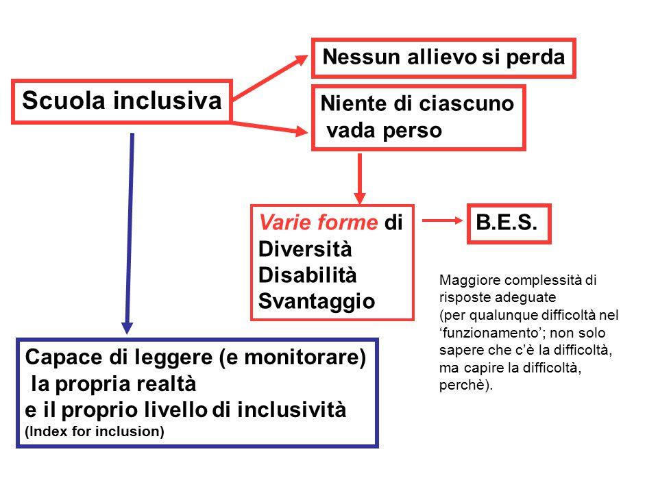 Scuola inclusiva Nessun allievo si perda Niente di ciascuno vada perso Capace di leggere (e monitorare) la propria realtà e il proprio livello di inclusività (Index for inclusion) Varie forme di Diversità Disabilità Svantaggio B.E.S.