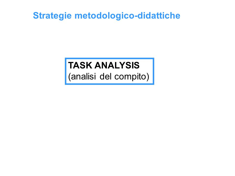 Strategie metodologico-didattiche TASK ANALYSIS (analisi del compito)