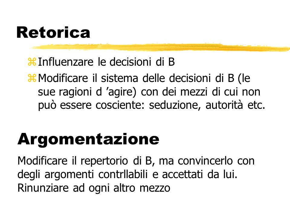 Retorica z Influenzare le decisioni di B z Modificare il sistema delle decisioni di B (le sue ragioni d 'agire) con dei mezzi di cui non può essere co