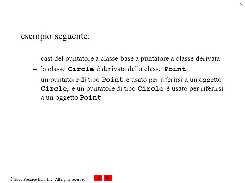  2000 Prentice Hall, Inc. All rights reserved. 8 esempio seguente: –cast del puntatore a classe base a puntatore a classe derivata –la classe Circle
