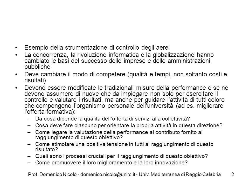 Prof. Domenico Nicolò - domenico.nicolo@unirc.it - Univ. Mediterranea di Reggio Calabria2 Esempio della strumentazione di controllo degli aerei La con