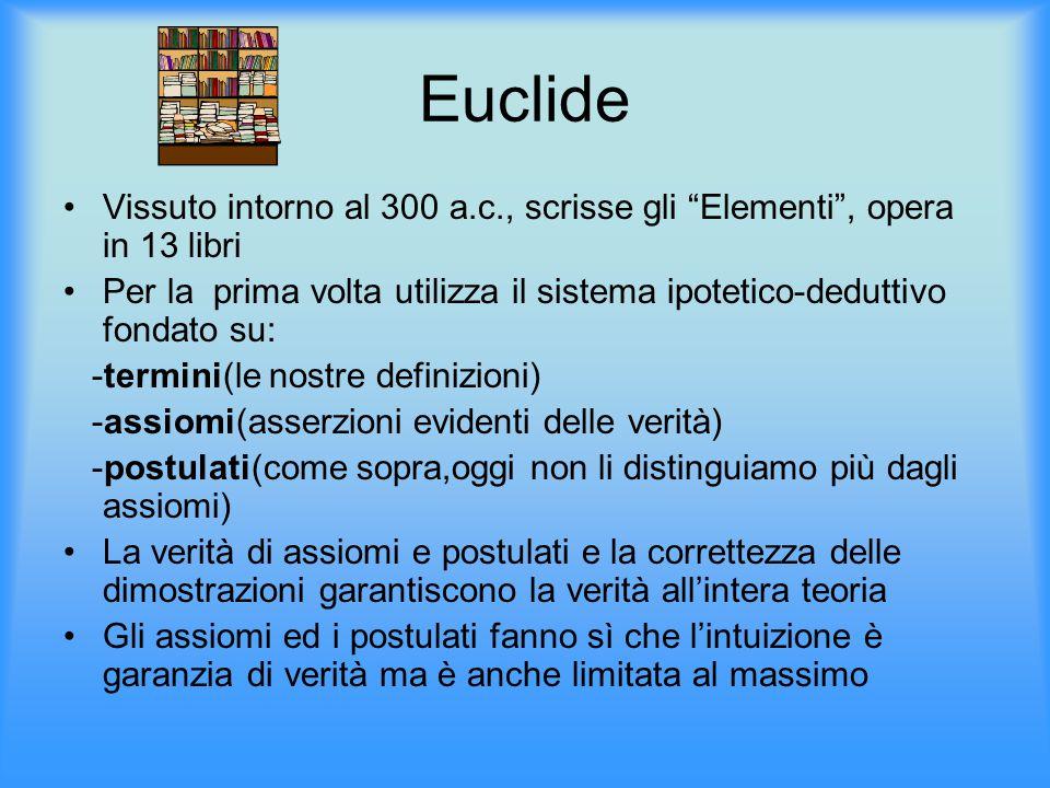 """Euclide Vissuto intorno al 300 a.c., scrisse gli """"Elementi"""", opera in 13 libri Per la prima volta utilizza il sistema ipotetico-deduttivo fondato su:"""