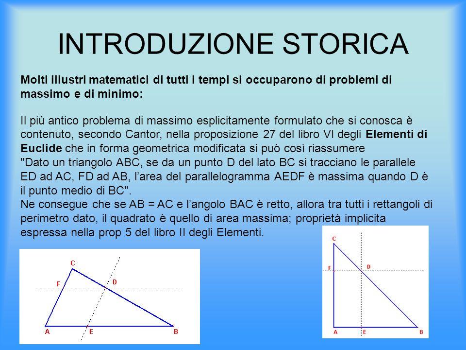 INTRODUZIONE STORICA Molti illustri matematici di tutti i tempi si occuparono di problemi di massimo e di minimo: Il più antico problema di massimo es