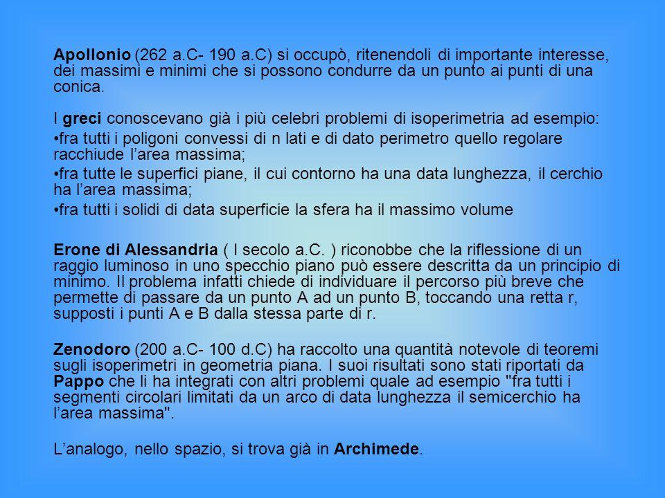 Apollonio (262 a.C- 190 a.C) si occupò, ritenendoli di importante interesse, dei massimi e minimi che si possono condurre da un punto ai punti di una