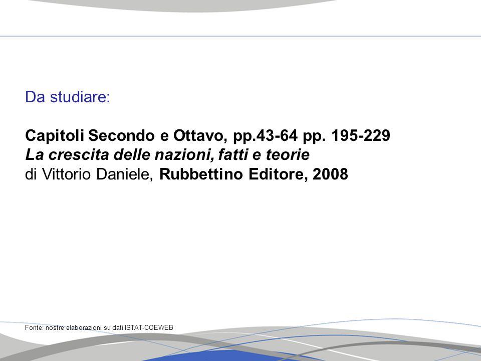 Da studiare: Capitoli Secondo e Ottavo, pp.43-64 pp. 195-229 La crescita delle nazioni, fatti e teorie di Vittorio Daniele, Rubbettino Editore, 2008 F