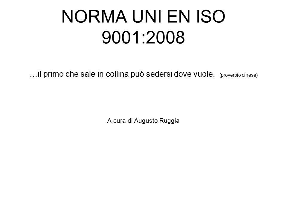 NORMA UNI EN ISO 9001:2008 …il primo che sale in collina può sedersi dove vuole.