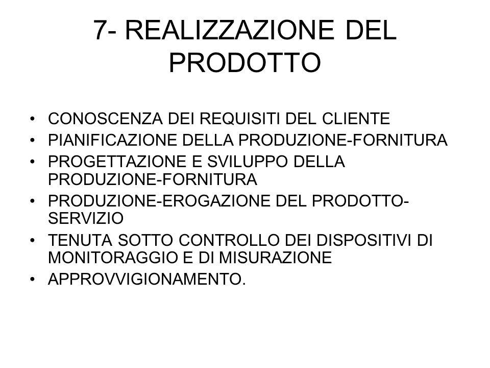 7- REALIZZAZIONE DEL PRODOTTO CONOSCENZA DEI REQUISITI DEL CLIENTE PIANIFICAZIONE DELLA PRODUZIONE-FORNITURA PROGETTAZIONE E SVILUPPO DELLA PRODUZIONE-FORNITURA PRODUZIONE-EROGAZIONE DEL PRODOTTO- SERVIZIO TENUTA SOTTO CONTROLLO DEI DISPOSITIVI DI MONITORAGGIO E DI MISURAZIONE APPROVVIGIONAMENTO.