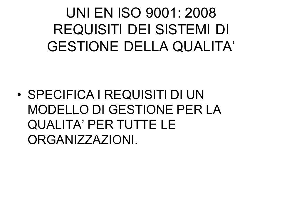UNI EN ISO 9001: 2008 REQUISITI DEI SISTEMI DI GESTIONE DELLA QUALITA' SPECIFICA I REQUISITI DI UN MODELLO DI GESTIONE PER LA QUALITA' PER TUTTE LE ORGANIZZAZIONI.