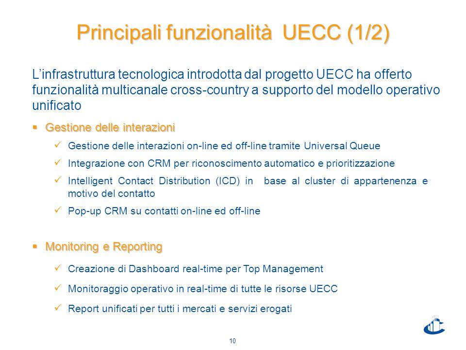 10 Principali funzionalità UECC (1/2)  Gestione delle interazioni Gestione delle interazioni on-line ed off-line tramite Universal Queue Integrazione con CRM per riconoscimento automatico e prioritizzazione Intelligent Contact Distribution (ICD) in base al cluster di appartenenza e motivo del contatto Pop-up CRM su contatti on-line ed off-line  Monitoring e Reporting Creazione di Dashboard real-time per Top Management Monitoraggio operativo in real-time di tutte le risorse UECC Report unificati per tutti i mercati e servizi erogati L'infrastruttura tecnologica introdotta dal progetto UECC ha offerto funzionalità multicanale cross-country a supporto del modello operativo unificato