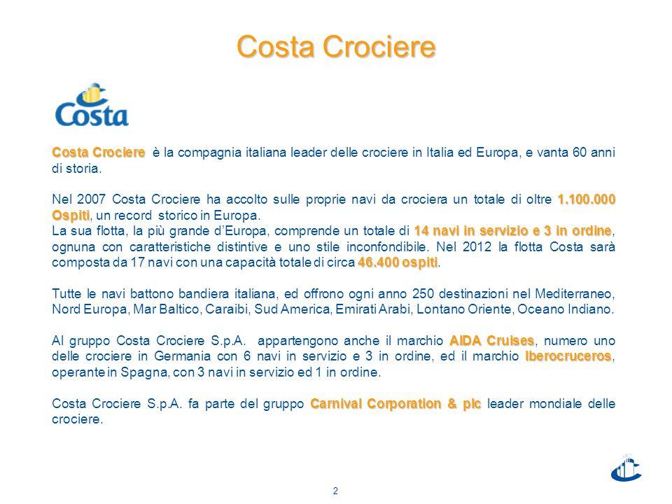 2 Costa Crociere Costa Crociere Costa Crociere è la compagnia italiana leader delle crociere in Italia ed Europa, e vanta 60 anni di storia.