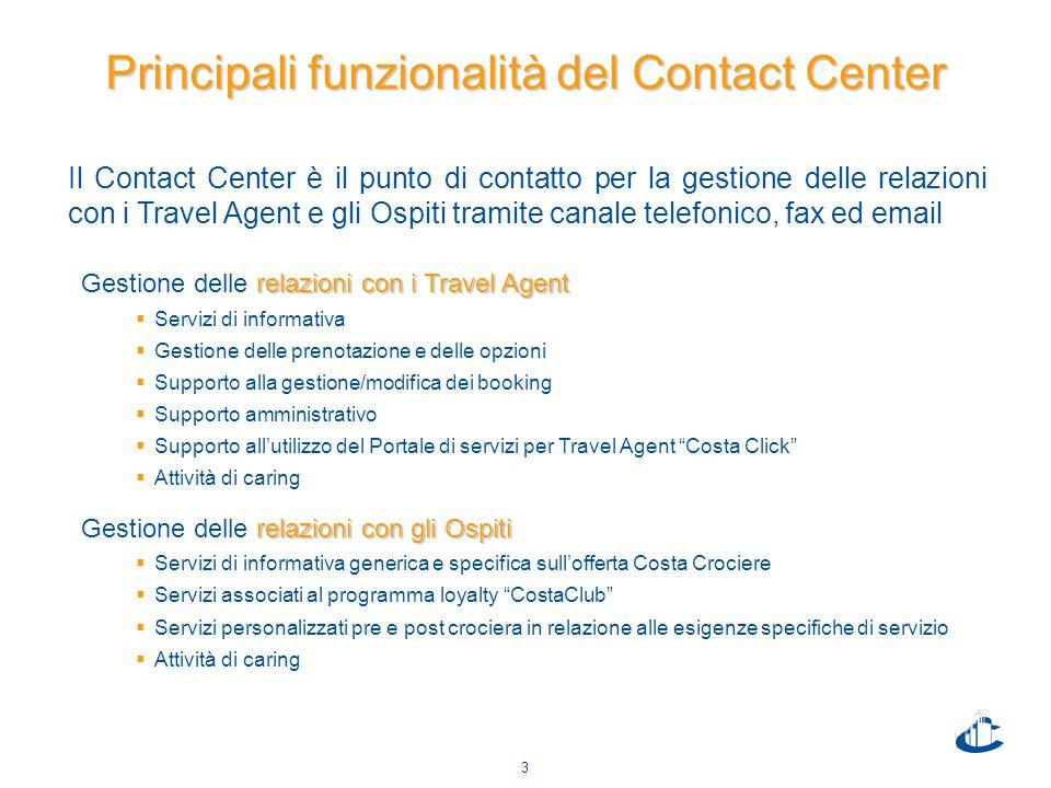 3 Principali funzionalità del Contact Center Il Contact Center è il punto di contatto per la gestione delle relazioni con i Travel Agent e gli Ospiti
