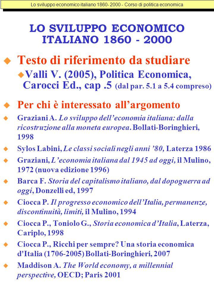 LO SVILUPPO ECONOMICO ITALIANO 1860 - 2000  Testo di riferimento da studiare  Valli V.