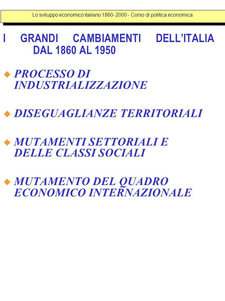 I GRANDI CAMBIAMENTI DELL'ITALIA DAL 1860 AL 1950  PROCESSO DI INDUSTRIALIZZAZIONE  DISEGUAGLIANZE TERRITORIALI  MUTAMENTI SETTORIALI E DELLE CLASSI SOCIALI  MUTAMENTO DEL QUADRO ECONOMICO INTERNAZIONALE Lo sviluppo economico italiano 1860- 2000 - Corso di politica economica