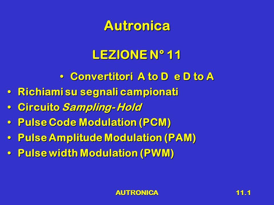 AUTRONICA11.1 Autronica LEZIONE N° 11 Convertitori A to D e D to AConvertitori A to D e D to A Richiami su segnali campionatiRichiami su segnali campionati Circuito Sampling- HoldCircuito Sampling- Hold Pulse Code Modulation (PCM)Pulse Code Modulation (PCM) Pulse Amplitude Modulation (PAM)Pulse Amplitude Modulation (PAM) Pulse width Modulation (PWM)Pulse width Modulation (PWM)