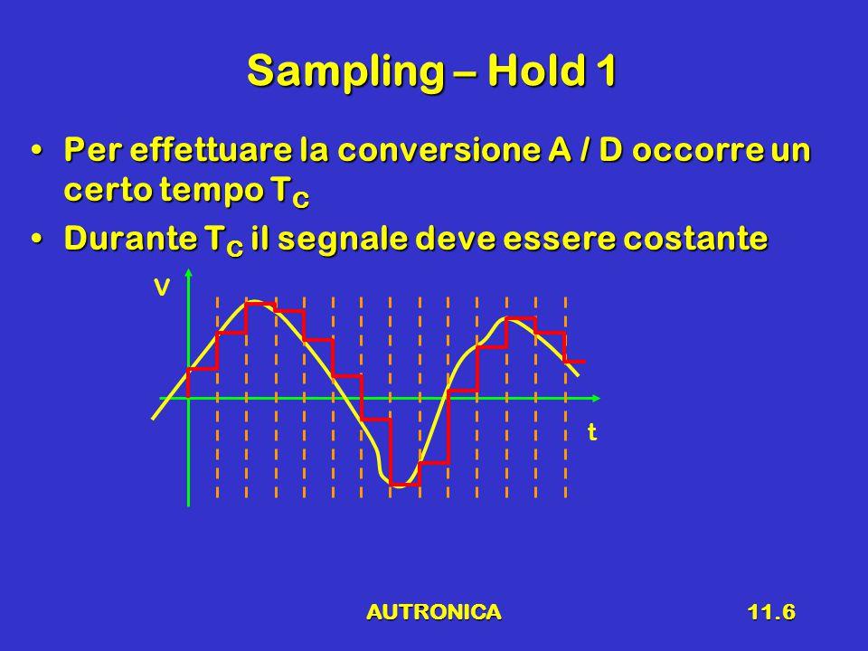 AUTRONICA11.6 Sampling – Hold 1 Per effettuare la conversione A / D occorre un certo tempo T CPer effettuare la conversione A / D occorre un certo tempo T C Durante T C il segnale deve essere costanteDurante T C il segnale deve essere costante V t