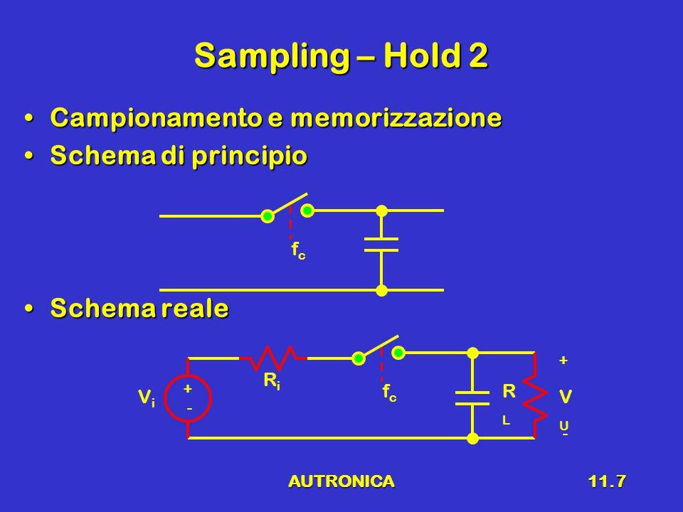 AUTRONICA11.7 Sampling – Hold 2 Campionamento e memorizzazioneCampionamento e memorizzazione Schema di principioSchema di principio Schema realeSchema