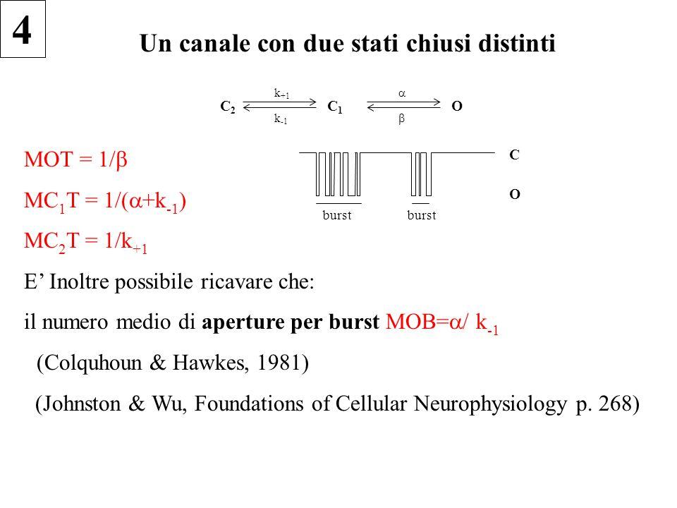 Un canale con due stati chiusi distinti C2C2 k +1 k -1 C1C1   O MOT = 1/  MC 1 T = 1/(  +k -1 ) MC 2 T = 1/k +1 E' Inoltre possibile ricavare che: il numero medio di aperture per burst MOB=  / k -1 il(Colquhoun & Hawkes, 1981) (Johnston & Wu, Foundations of Cellular Neurophysiology p.