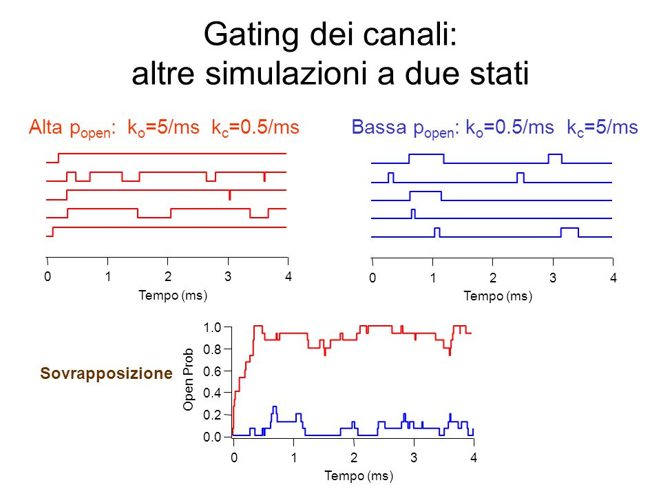 Gating dei canali: altre simulazioni a due stati 43210 Tempo (ms) 1.0 0.8 0.6 0.4 0.2 0.0 Open Prob 43210 Tempo (ms) Alta p open : k o =5/ms k c =0.5/