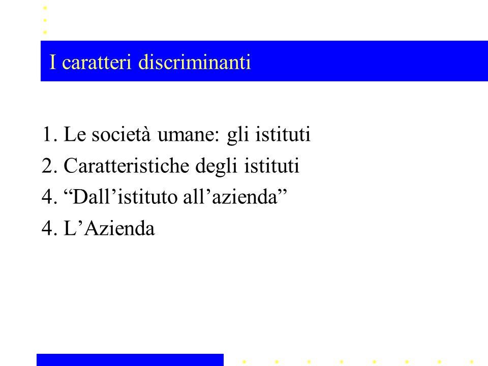 """1. Le società umane: gli istituti 2. Caratteristiche degli istituti 4. """"Dall'istituto all'azienda"""" 4. L'Azienda"""
