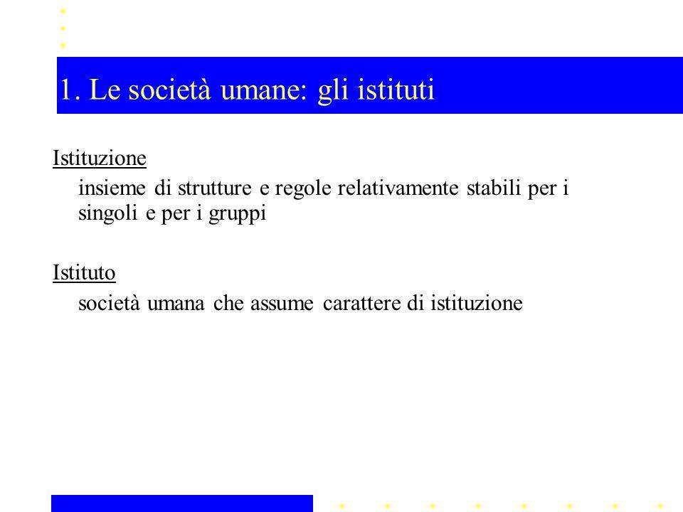 1. Le società umane: gli istituti Istituzione insieme di strutture e regole relativamente stabili per i singoli e per i gruppi Istituto società umana