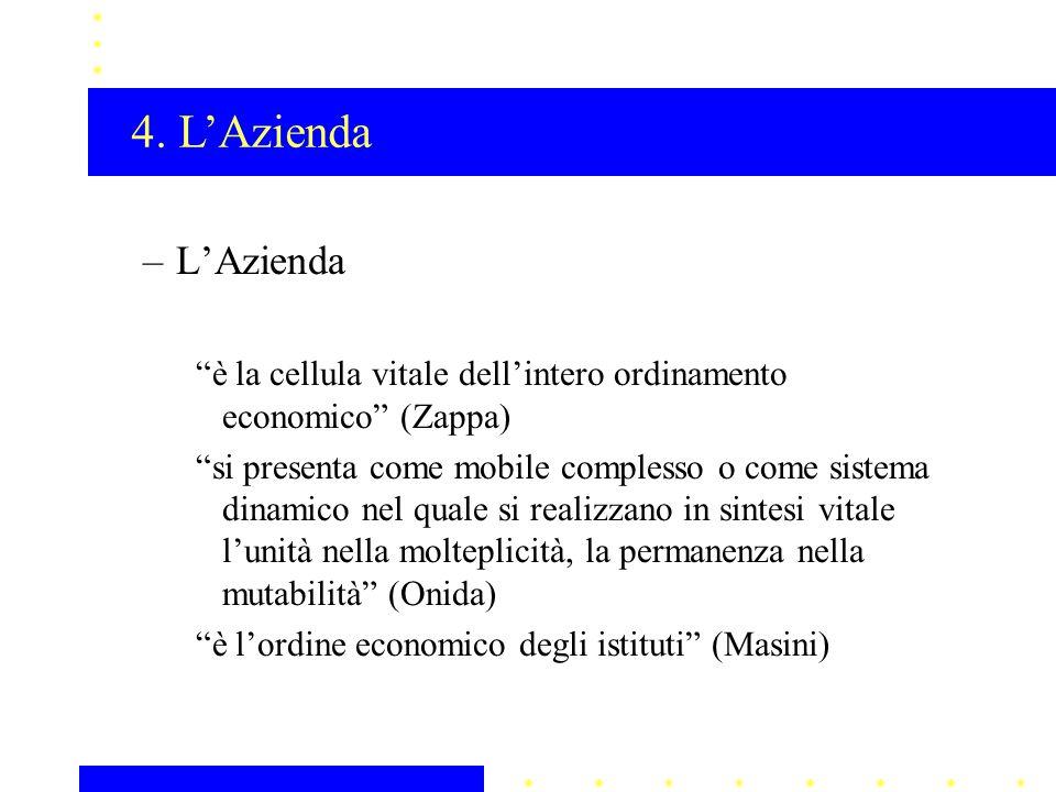 """–L'Azienda """"è la cellula vitale dell'intero ordinamento economico"""" (Zappa) """"si presenta come mobile complesso o come sistema dinamico nel quale si rea"""