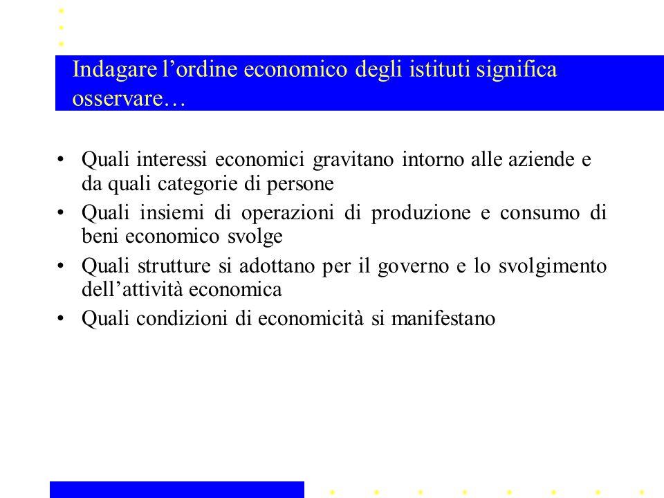 Quali interessi economici gravitano intorno alle aziende e da quali categorie di persone Quali insiemi di operazioni di produzione e consumo di beni e