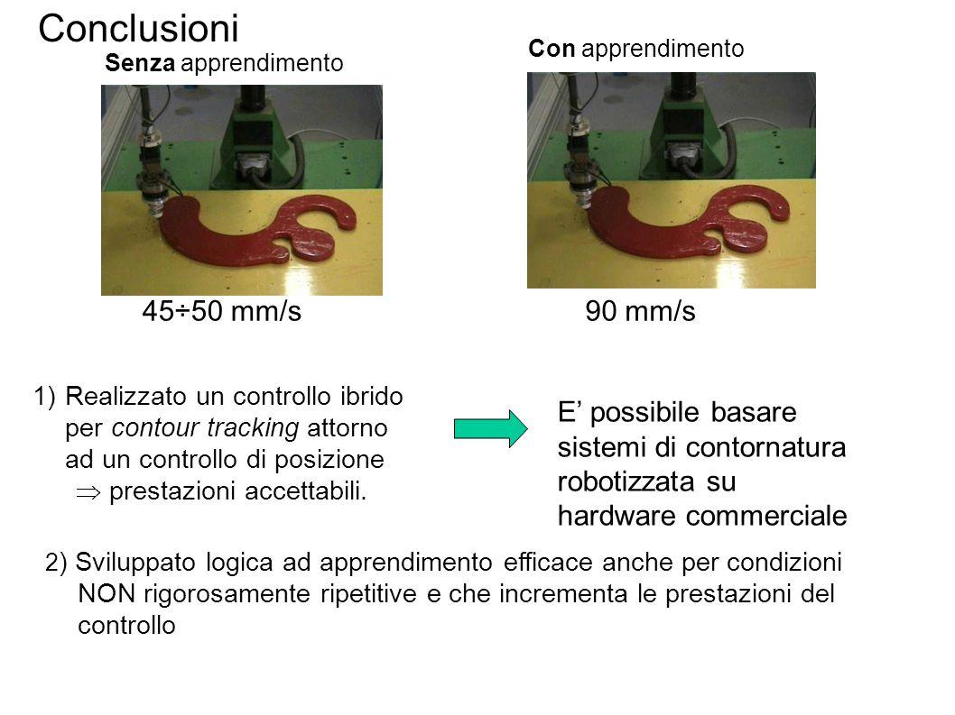 1)Realizzato un controllo ibrido per contour tracking attorno ad un controllo di posizione  prestazioni accettabili. Senza apprendimento Con apprendi