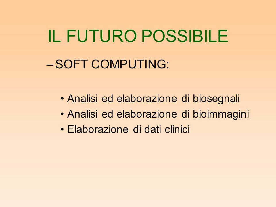 IL FUTURO POSSIBILE –SOFT COMPUTING: Analisi ed elaborazione di biosegnali Analisi ed elaborazione di bioimmagini Elaborazione di dati clinici