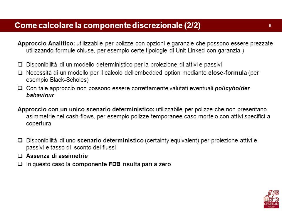 6 Come calcolare la componente discrezionale (2/2) Approccio Analitico: utilizzabile per polizze con opzioni e garanzie che possono essere prezzate ut