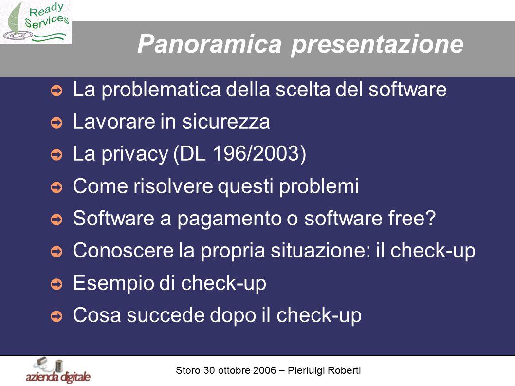 Storo 30 ottobre 2006 – Pierluigi Roberti Panoramica presentazione ➲ La problematica della scelta del software ➲ Lavorare in sicurezza ➲ La privacy (DL 196/2003) ➲ Come risolvere questi problemi ➲ Software a pagamento o software free.