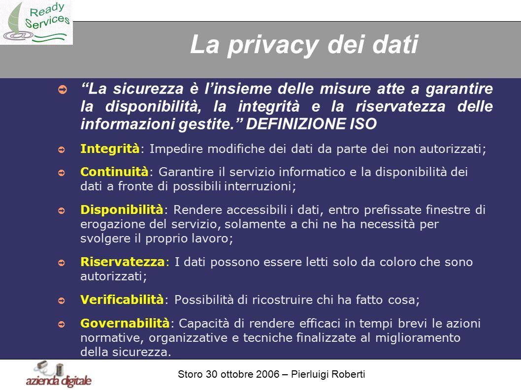 Storo 30 ottobre 2006 – Pierluigi Roberti La privacy dei dati ➲ La sicurezza è l'insieme delle misure atte a garantire la disponibilità, la integrità e la riservatezza delle informazioni gestite. DEFINIZIONE ISO ➲ Integrità: Impedire modifiche dei dati da parte dei non autorizzati; ➲ Continuità: Garantire il servizio informatico e la disponibilità dei dati a fronte di possibili interruzioni; ➲ Disponibilità: Rendere accessibili i dati, entro prefissate finestre di erogazione del servizio, solamente a chi ne ha necessità per svolgere il proprio lavoro; ➲ Riservatezza: I dati possono essere letti solo da coloro che sono autorizzati; ➲ Verificabilità: Possibilità di ricostruire chi ha fatto cosa; ➲ Governabilità: Capacità di rendere efficaci in tempi brevi le azioni normative, organizzative e tecniche finalizzate al miglioramento della sicurezza.