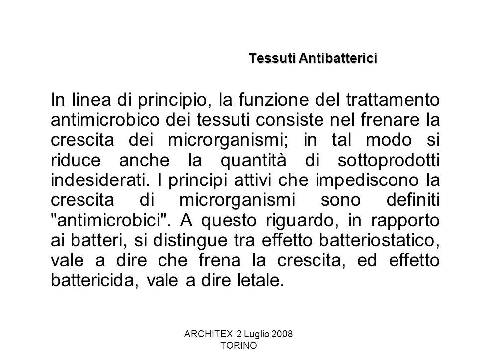 ARCHITEX 2 Luglio 2008 TORINO Tessuti Antibatterici In linea di principio, la funzione del trattamento antimicrobico dei tessuti consiste nel frenare
