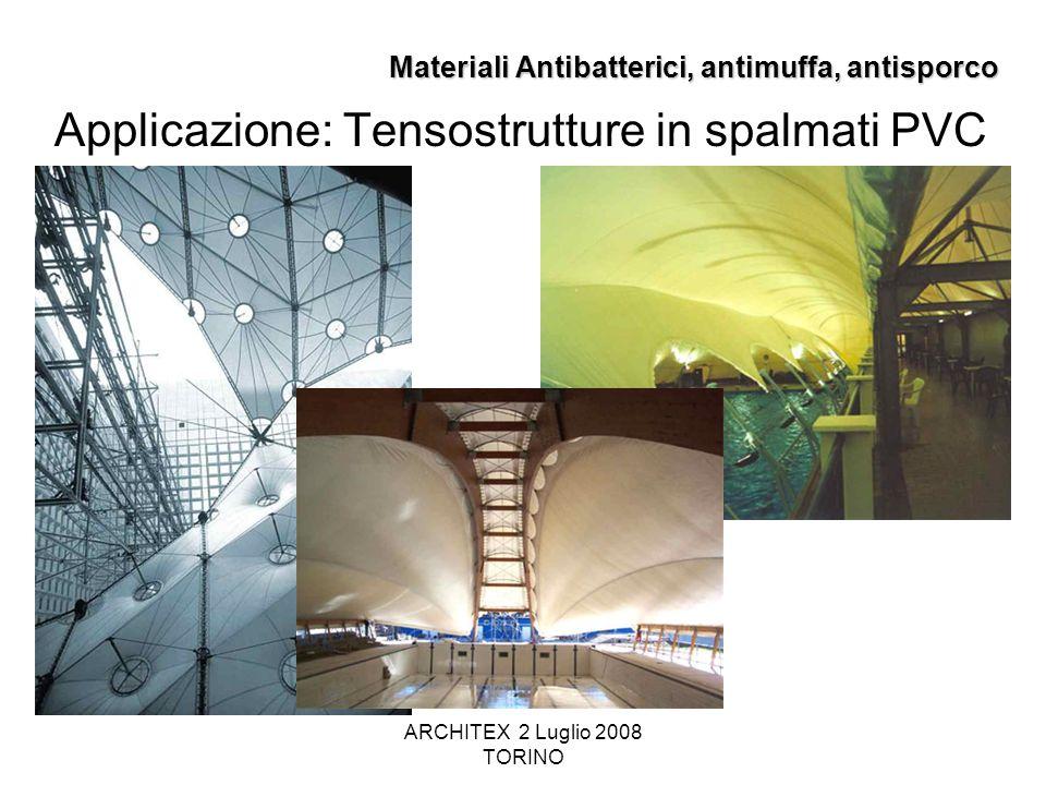 ARCHITEX 2 Luglio 2008 TORINO Materiali Antibatterici, antimuffa, antisporco Applicazione: Tensostrutture in spalmati PVC