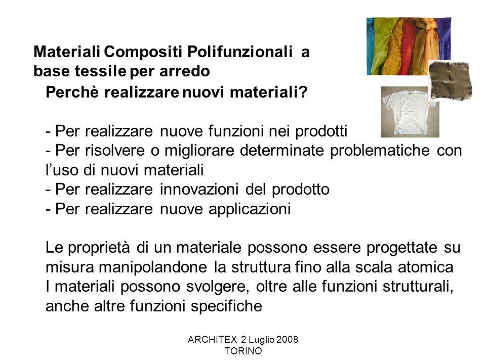 ARCHITEX 2 Luglio 2008 TORINO Materiali Compositi Polifunzionali a base tessile per arredo Perchè realizzare nuovi materiali? - Per realizzare nuove f