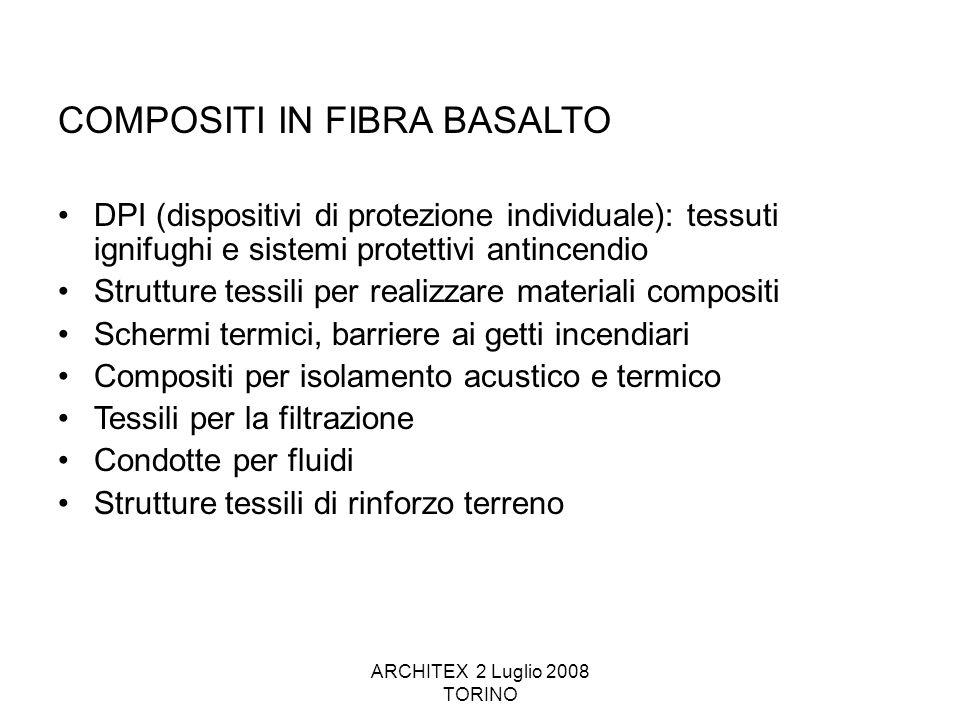 ARCHITEX 2 Luglio 2008 TORINO COMPOSITI IN FIBRA BASALTO DPI (dispositivi di protezione individuale): tessuti ignifughi e sistemi protettivi antincend