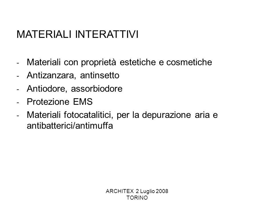 ARCHITEX 2 Luglio 2008 TORINO MATERIALI INTERATTIVI - Materiali con proprietà estetiche e cosmetiche - Antizanzara, antinsetto - Antiodore, assorbiodo