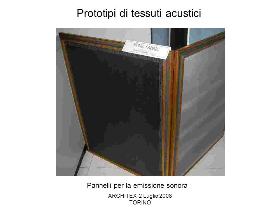 ARCHITEX 2 Luglio 2008 TORINO Prototipi di tessuti acustici Pannelli per la emissione sonora