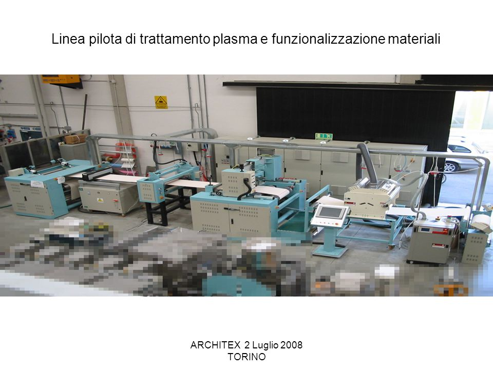 ARCHITEX 2 Luglio 2008 TORINO Linea pilota di trattamento plasma e funzionalizzazione materiali