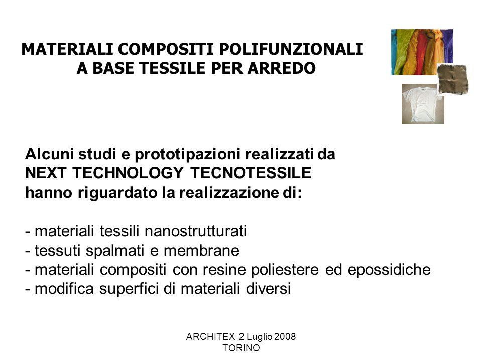 ARCHITEX 2 Luglio 2008 TORINO Alcuni studi e prototipazioni realizzati da NEXT TECHNOLOGY TECNOTESSILE hanno riguardato la realizzazione di: - materia