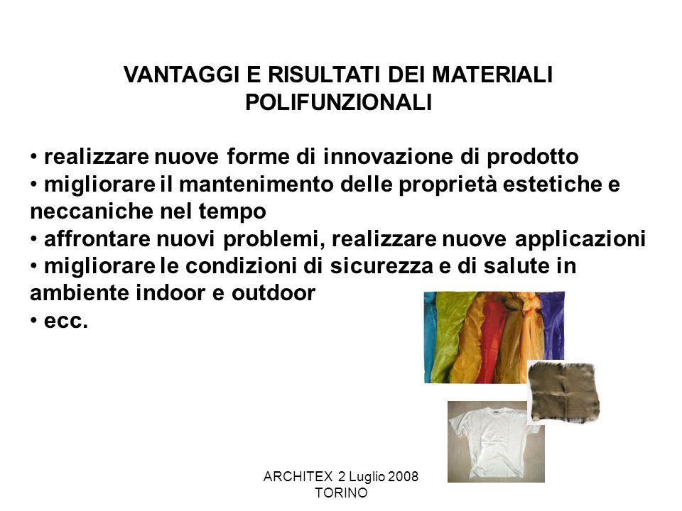 ARCHITEX 2 Luglio 2008 TORINO VANTAGGI E RISULTATI DEI MATERIALI POLIFUNZIONALI realizzare nuove forme di innovazione di prodotto migliorare il manten