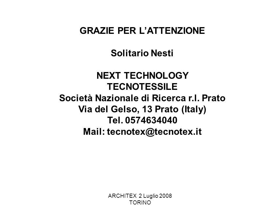 ARCHITEX 2 Luglio 2008 TORINO GRAZIE PER L'ATTENZIONE Solitario Nesti NEXT TECHNOLOGY TECNOTESSILE Società Nazionale di Ricerca r.l. Prato Via del Gel