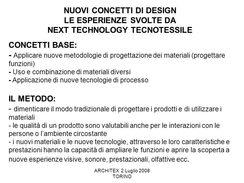 ARCHITEX 2 Luglio 2008 TORINO CONCETTI BASE: - Applicare nuove metodologie di progettazione dei materiali (progettare funzioni) - Uso e combinazione d