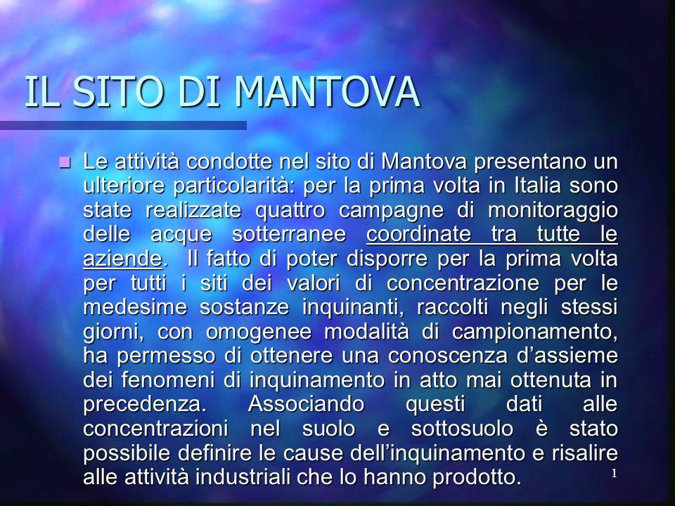 1 IL SITO DI MANTOVA Le attività condotte nel sito di Mantova presentano un ulteriore particolarità: per la prima volta in Italia sono state realizzate quattro campagne di monitoraggio delle acque sotterranee coordinate tra tutte le aziende.