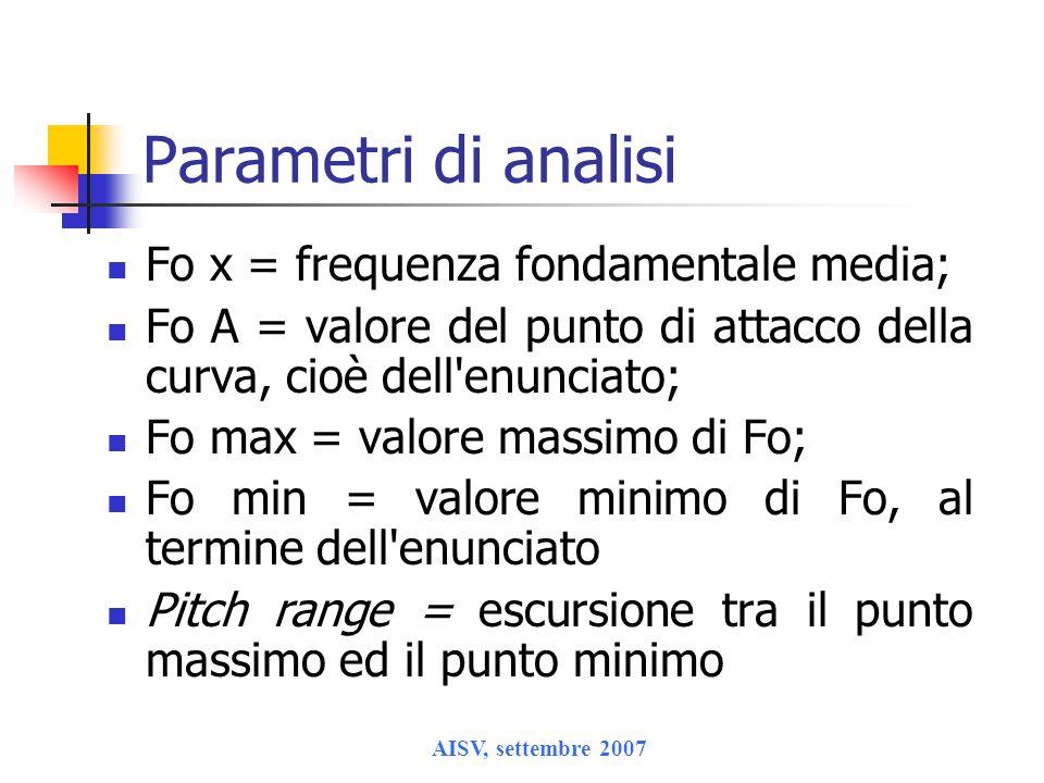 AISV, settembre 2007 Parametri di analisi Fo x = frequenza fondamentale media; Fo A = valore del punto di attacco della curva, cioè dell enunciato; Fo max = valore massimo di Fo; Fo min = valore minimo di Fo, al termine dell enunciato Pitch range = escursione tra il punto massimo ed il punto minimo