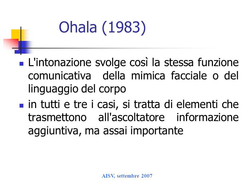 AISV, settembre 2007 Ohala (1983) L intonazione svolge così la stessa funzione comunicativa della mimica facciale o del linguaggio del corpo in tutti e tre i casi, si tratta di elementi che trasmettono all ascoltatore informazione aggiuntiva, ma assai importante