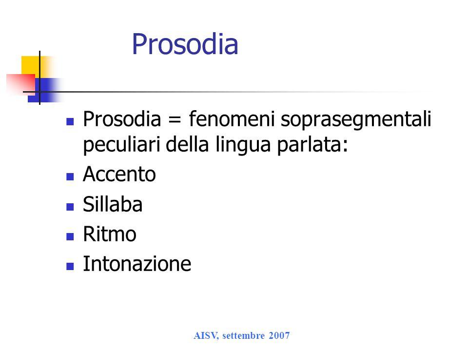 AISV, settembre 2007 Prosodia Prosodia = fenomeni soprasegmentali peculiari della lingua parlata: Accento Sillaba Ritmo Intonazione