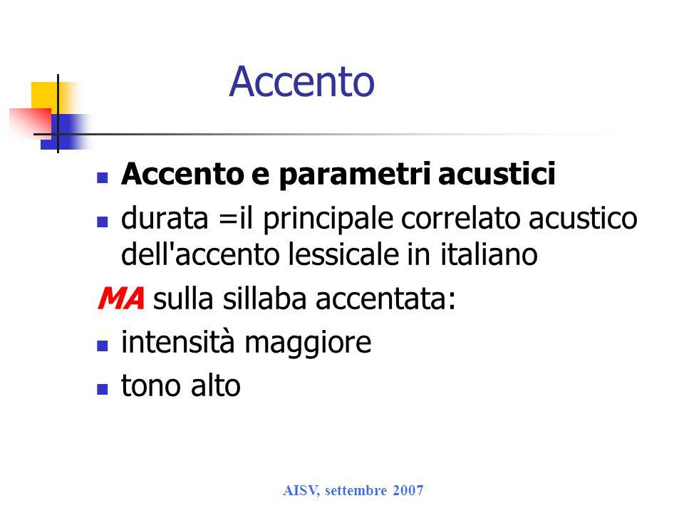 AISV, settembre 2007 Accento Accento e parametri acustici durata =il principale correlato acustico dell'accento lessicale in italiano MA sulla sillaba