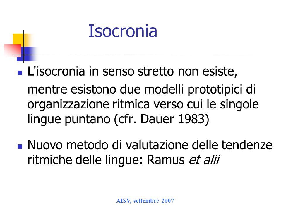 AISV, settembre 2007 Isocronia L'isocronia in senso stretto non esiste, mentre esistono due modelli prototipici di organizzazione ritmica verso cui le