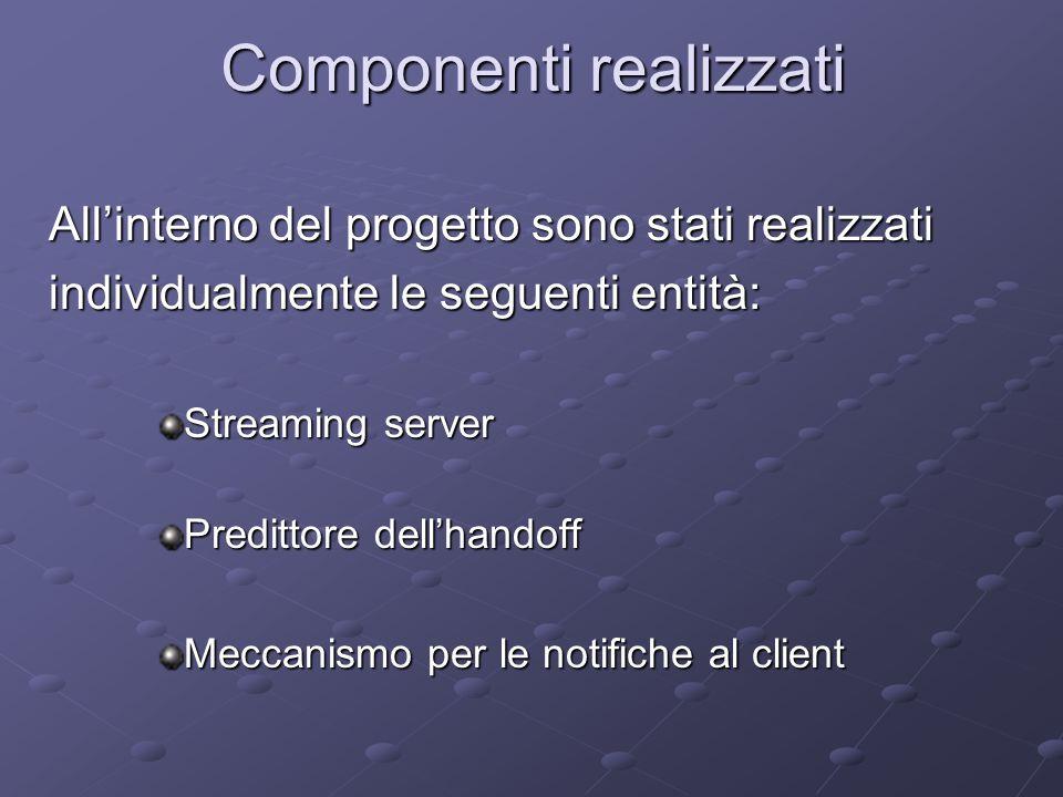Componenti realizzati All'interno del progetto sono stati realizzati individualmente le seguenti entità: Streaming server Predittore dell'handoff Meccanismo per le notifiche al client